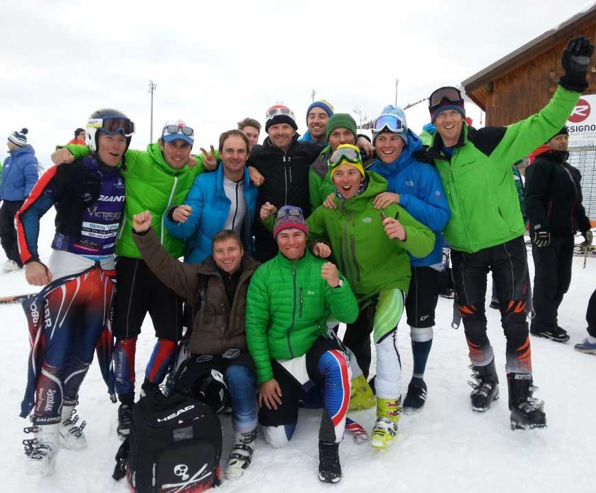 A group of instructors overjoyed at passing the Eurotest